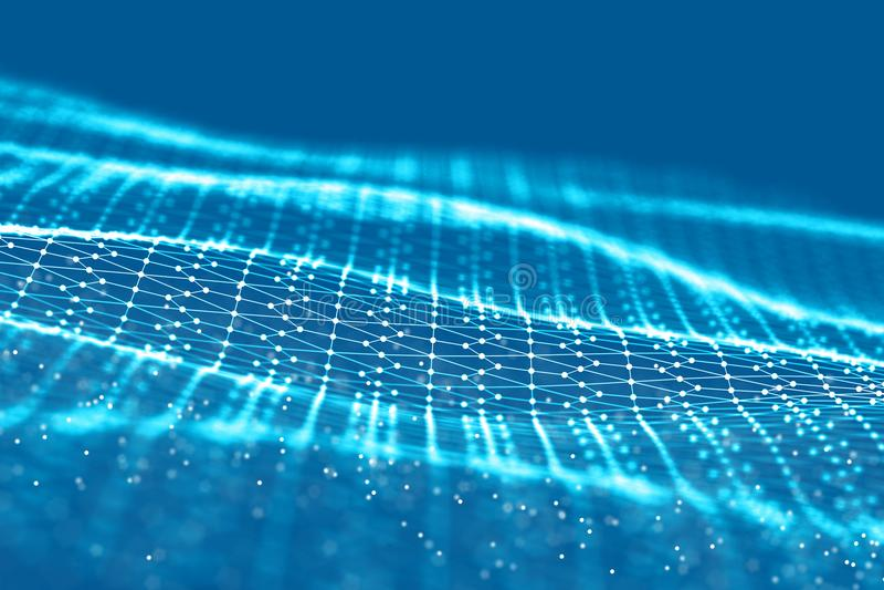 Raster för bakgrund 3d Wireframe för nätverk för tråd för tech för CyberteknologiAi futuristisk konstgjord intelligens Abstrakt b arkivfoton