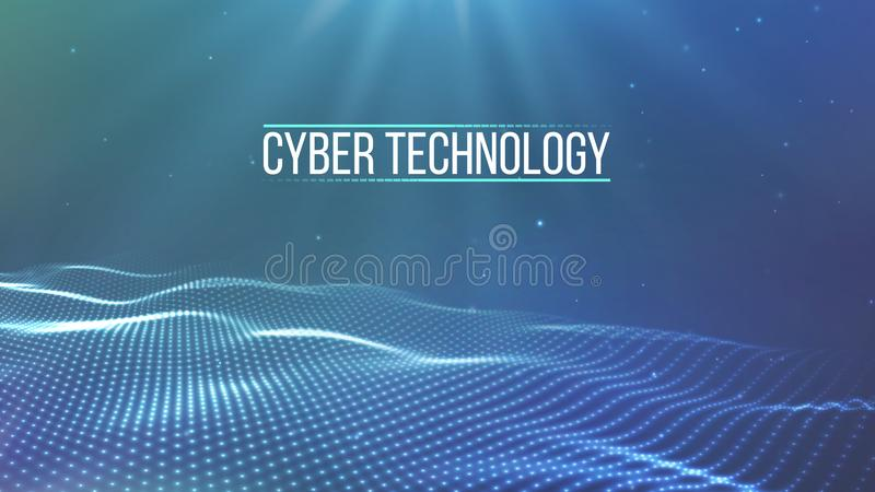 Raster för bakgrund 3d Wireframe för nätverk för tråd för tech för CyberteknologiAi futuristisk konstgjord intelligens Abstrakt b stock illustrationer