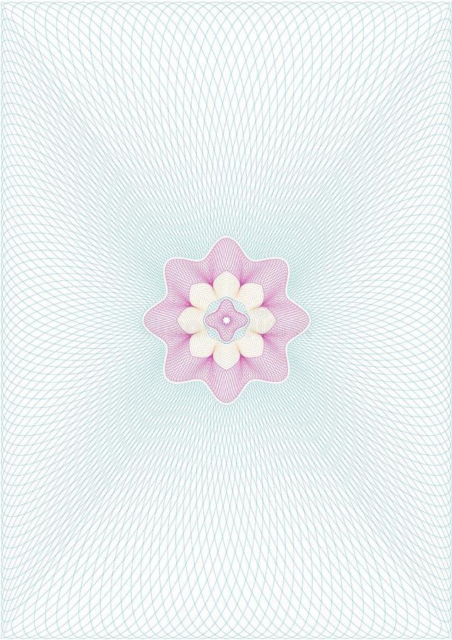 Raster för Guillochevektorbakgrund med rosetten i mitt royaltyfri illustrationer