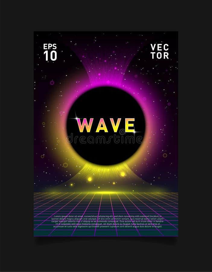 Raster för laser för Retrowave vaporwavesynthwave och glödande svart hål Design för affischen, reklamblad, räkning, broschyr, kor stock illustrationer