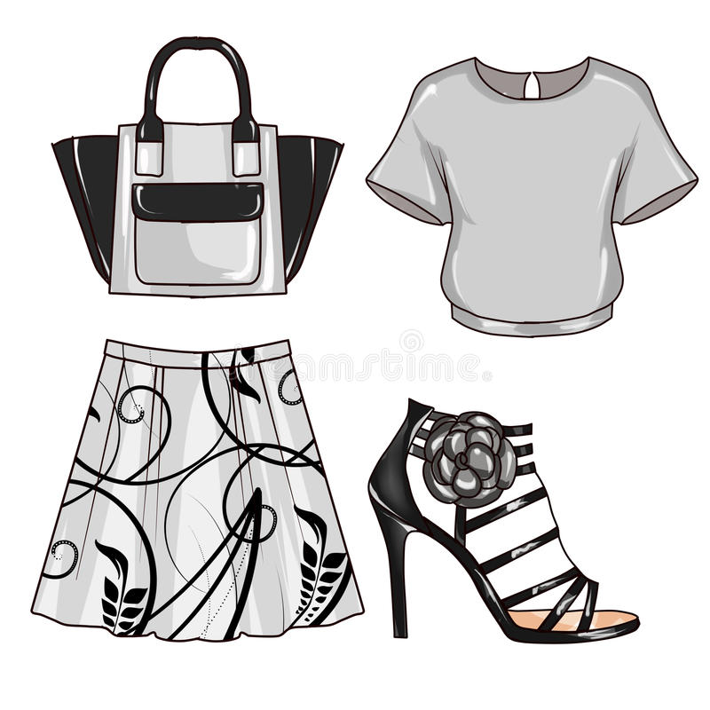 Raster Fashion Illustration - Clip Art Set of woman's clothes and accessories vector illustration