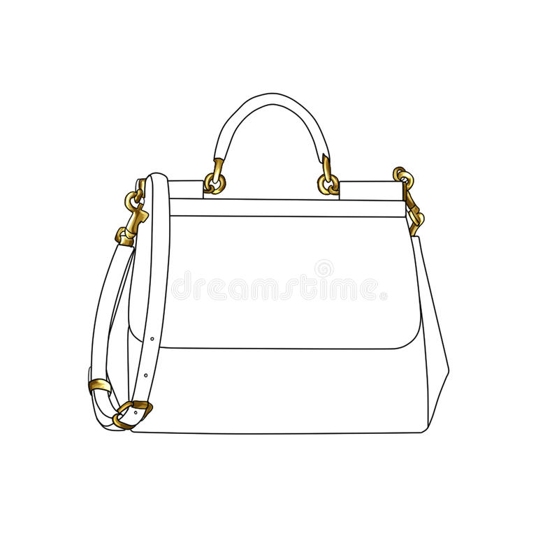 Raster fashion illustration of a designer hand bag vector illustration