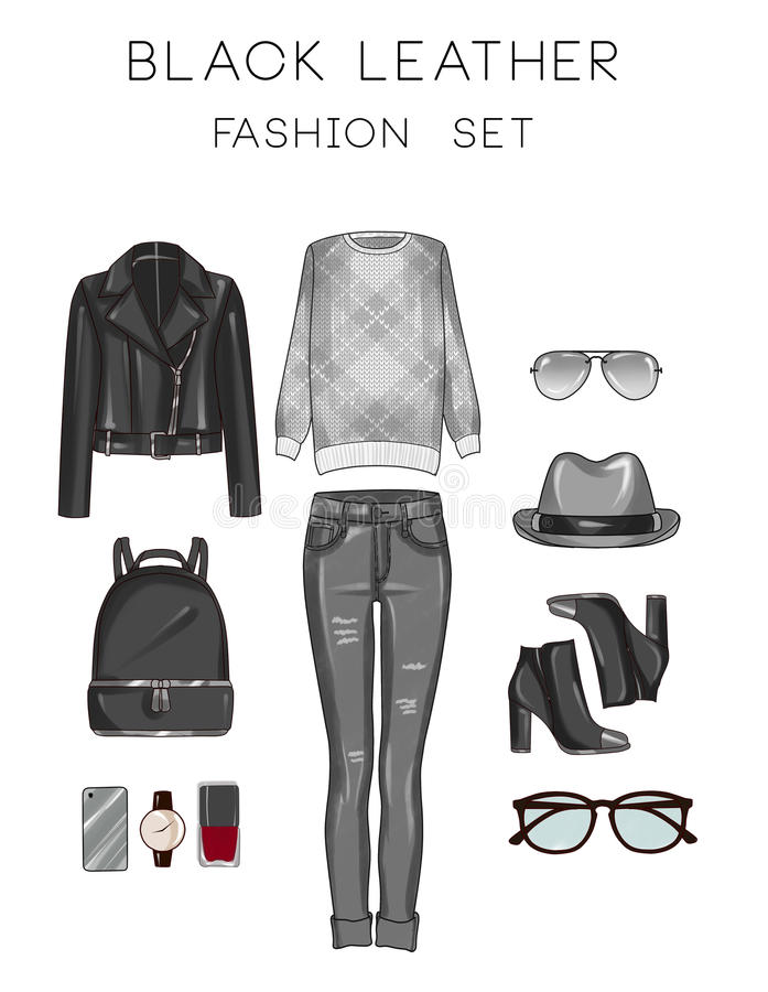 Raster Fashion Illustration set - Clip Art Set of woman's clothes and accessories royalty free illustration
