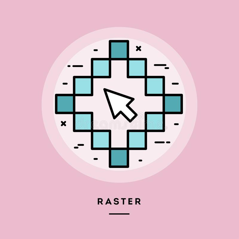 Raster, flat design thin line banner. Vector illustration. stock illustration