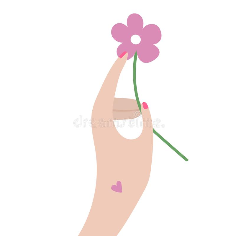 Raster hand with flower in flat style royalty free illustration