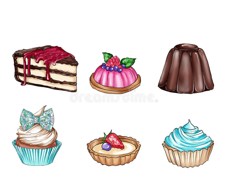 Raster illustration with different sweet food stock illustration