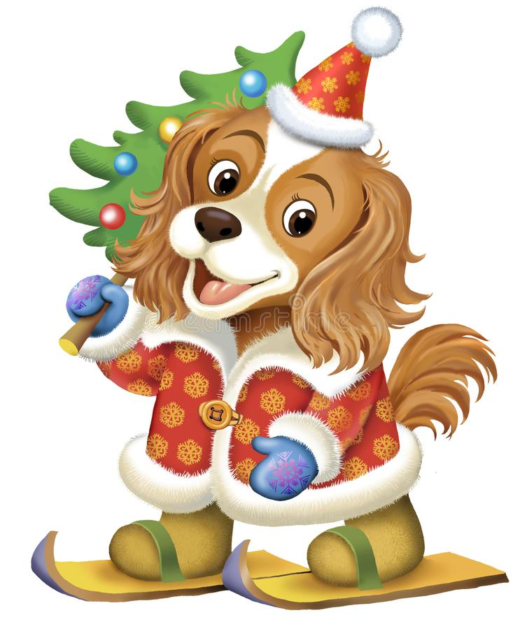 Raster illustration of a dog in the role of Santa Claus with a C stock photography