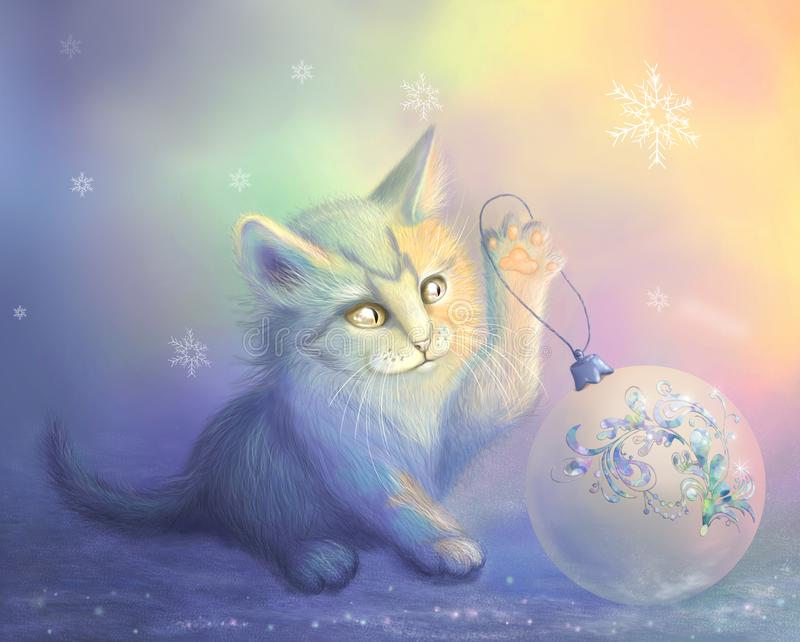 Raster illustration with a kitty and a christmas ball. Raster illustration with a kitty playing and a christmas ball royalty free illustration