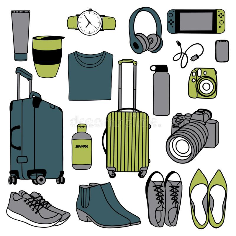 Raster illustration. Set of items for the traveler. Flat illustration royalty free illustration