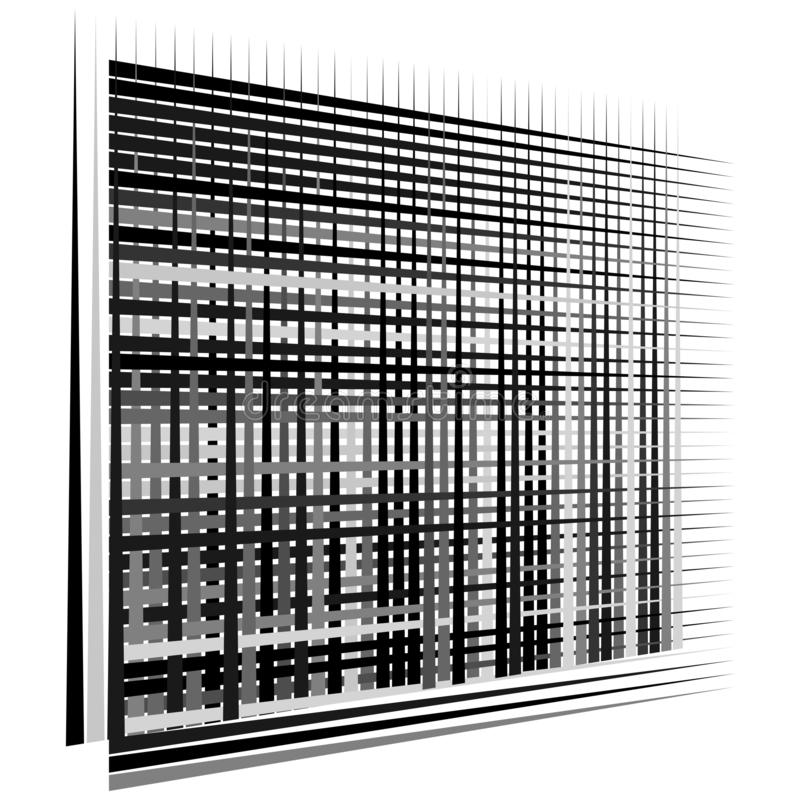 Raster, maaselement cellulair, reticulair rooster, rooster serie van bisect, overlappende lijnen, strepen geometrisch monochroom, vector illustratie