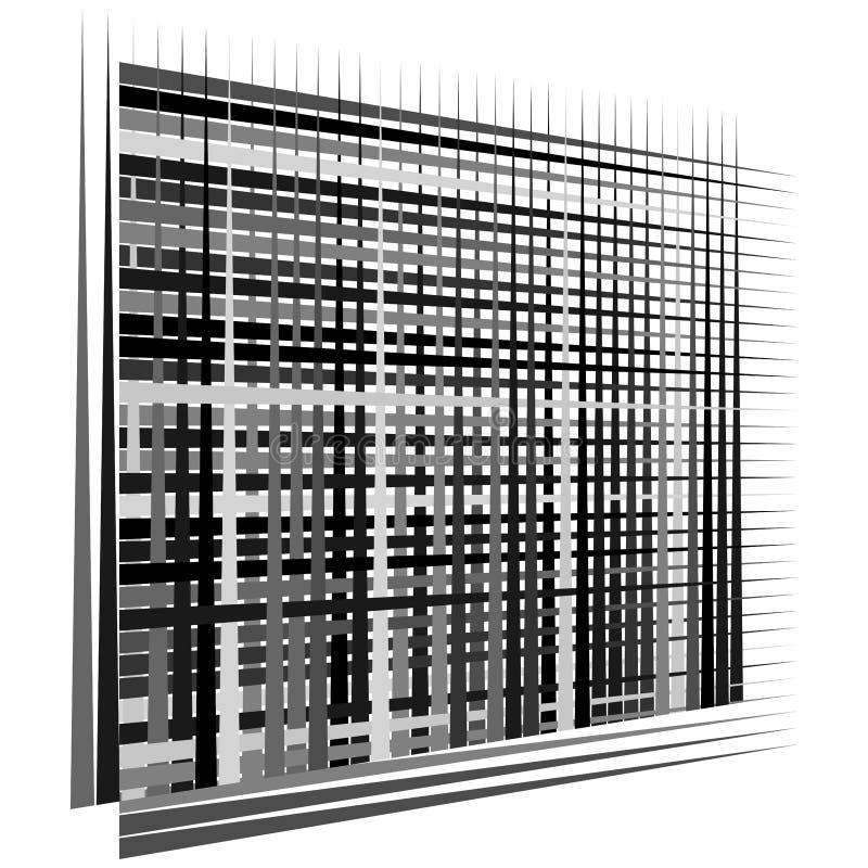 Raster, maaselement cellulair, reticulair rooster, rooster serie van bisect, overlappende lijnen, strepen geometrisch monochroom, royalty-vrije illustratie