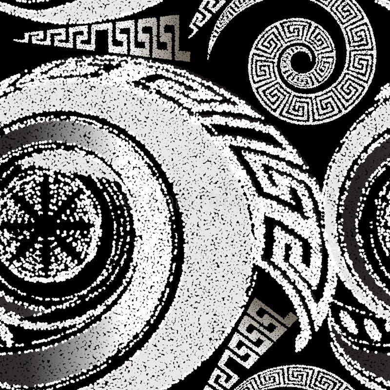 Raster med stift, svart och vitt geometriskt sömlöst mönster Dockad korngrek bakgrund Upprepa abstrakt modern stock illustrationer