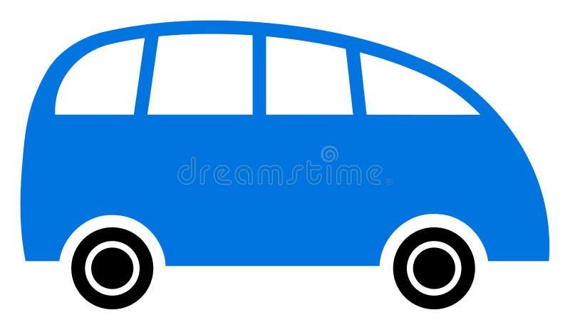 Raster Flat Minibus Icon stock illustration