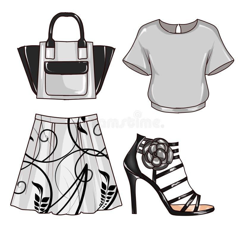 Raster mody ilustracja - klamerki sztuka Ustawiająca kobieta odzieżowa i akcesoria ilustracja wektor