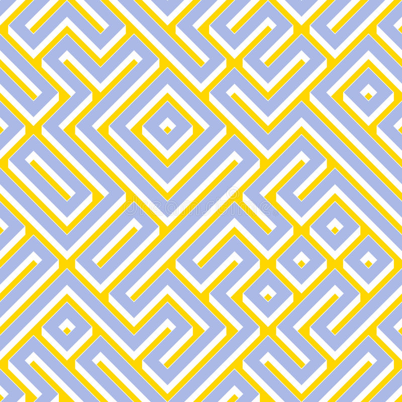 Raster-nahtlose blaue gelbe weiße Farbe geometrischer Maze Pattern lizenzfreie abbildung