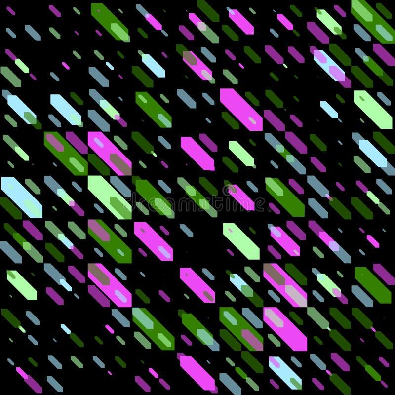 Raster-nahtlose parallele geometrische diagonale Form in den grünen und rosa Neonfarben auf schwarzem Hintergrund lizenzfreie abbildung
