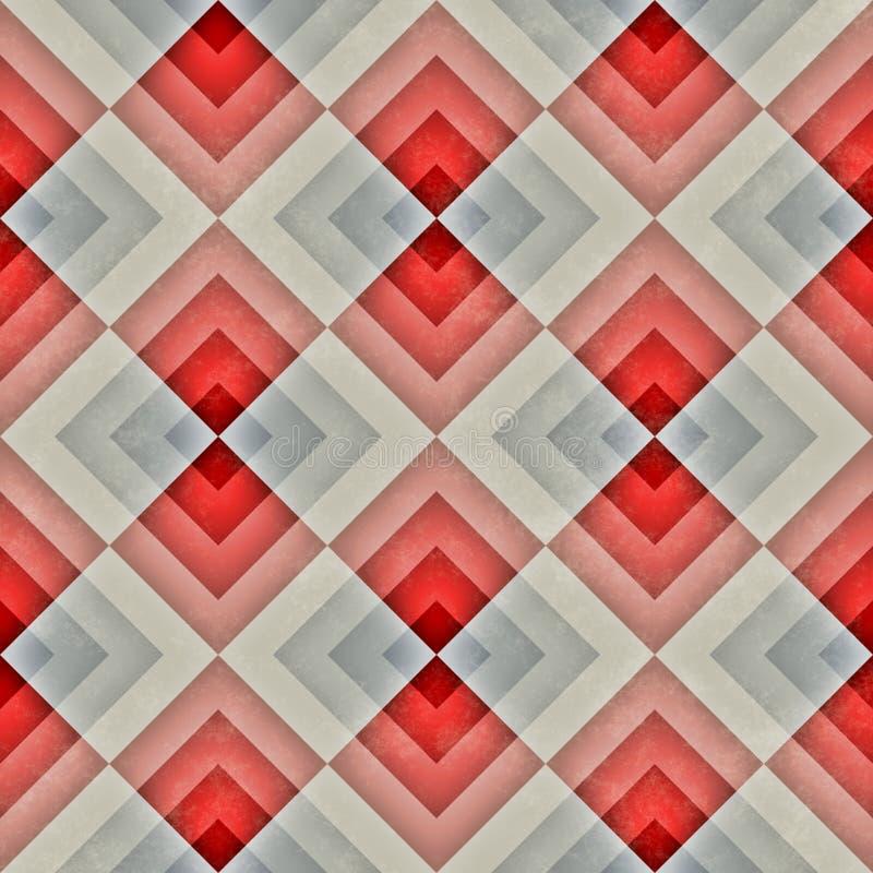 Raster-nahtloser diagonaler roter blauer Tan Stripe Rhombus Blocks Grid-Schmutz-Retro- Muster vektor abbildung