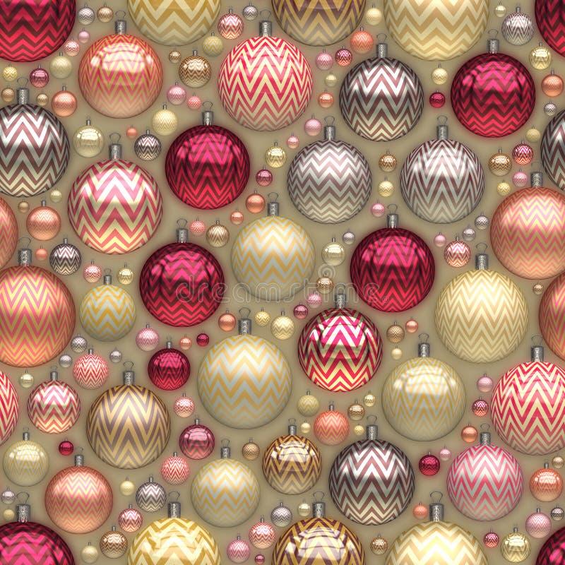 Raster-nahtloses neues Jahr Christmass-Baum-Feiertags-Ball-Durcheinander-Muster lizenzfreie abbildung