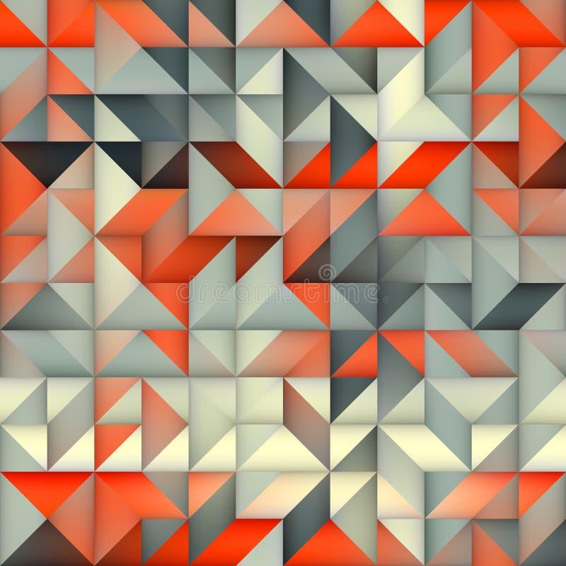 Raster-nahtloses orange Grey Gradient Triangle Irregular Grid-Quadrat-Muster lizenzfreie abbildung