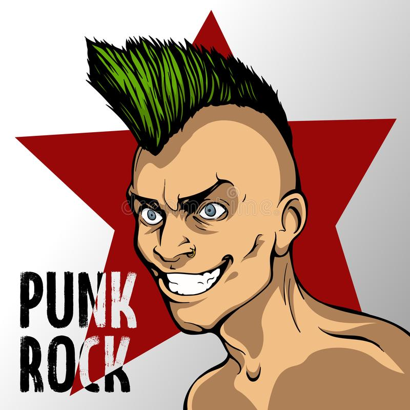 A man with a green mohawk on the background of a red star and an inscription of punk rock vector illustration