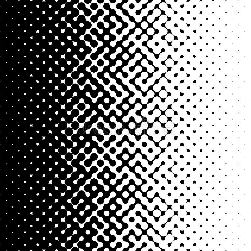 Raster Seamless Black and White Truchet Halftone Gradient Pattern royalty free illustration