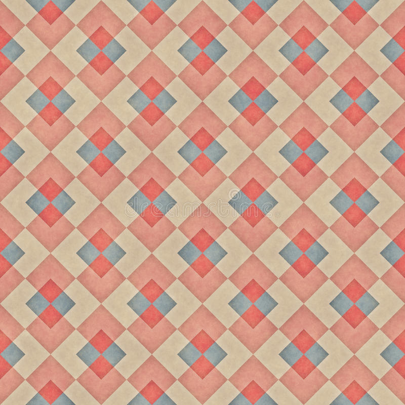 Raster Seamless Diagonal Red Blue Tan Stripe Rhombus Blocks Grid Grunge Retro Pattern. Abstract Background royalty free stock images