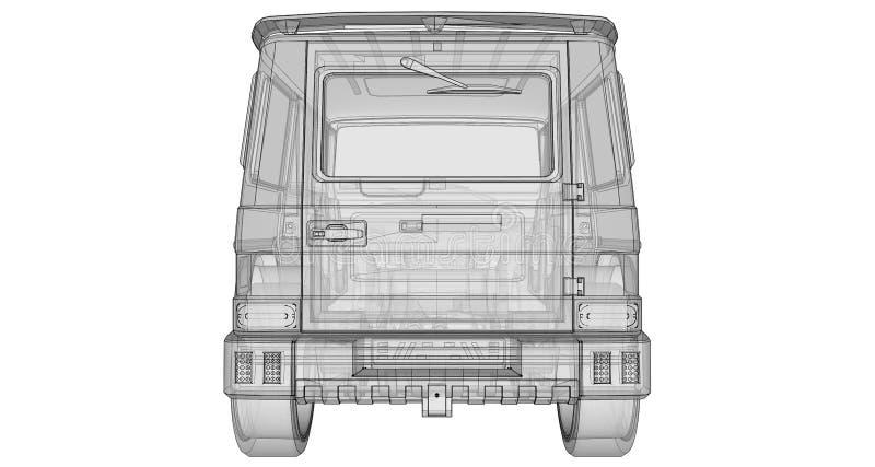 Raster trójwymiarowa ilustracja samochodowa Mercedes-Benz klasa Strojeniowa wersja samochód od studia BRABUS ilustracja wektor
