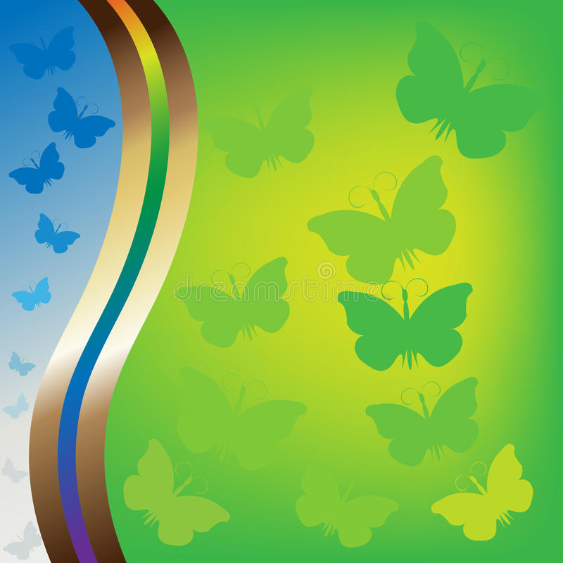 Raster version of summer background. With butterflies royalty free illustration
