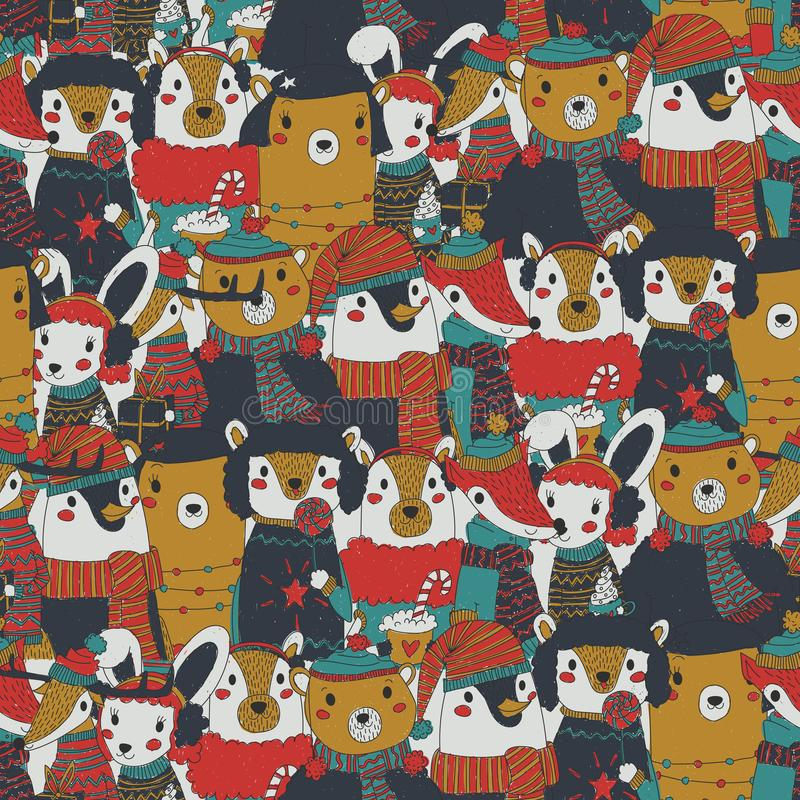 Raster vintage christmas seamless pattern with festive animals wearing warm winter clothes. retro xmas repeating background vector illustration
