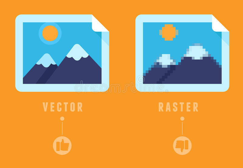 Raster vs begrepp stock illustrationer