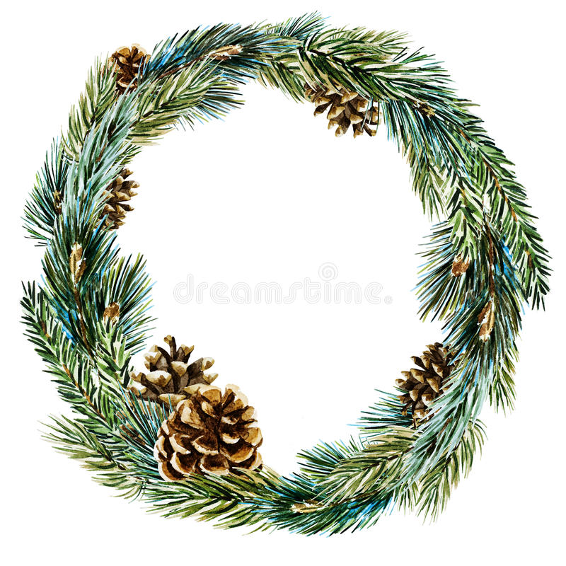Raster watercolor christmas wreath stock illustration