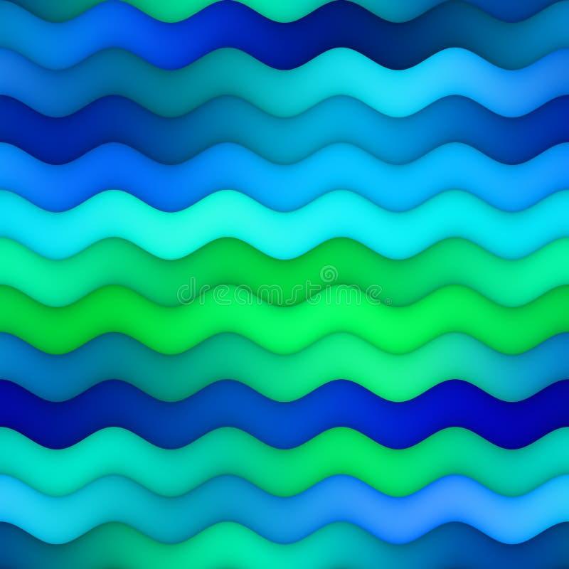 Raster-zeichnet nahtlose horizontale gewellte blaues Grün-Steigung Wasser-Beschaffenheit stock abbildung