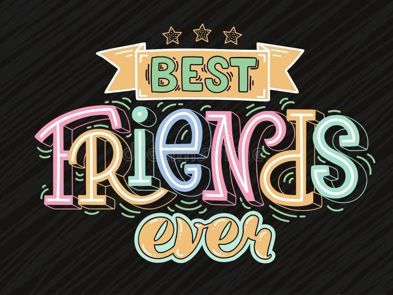 Rasterillustration des Textes der besten Freunde überhaupt vektor abbildung