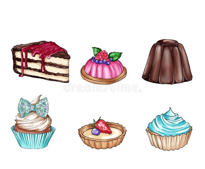 Rasterillustration mit unterschiedlichem süßem Lebensmittel stock abbildung