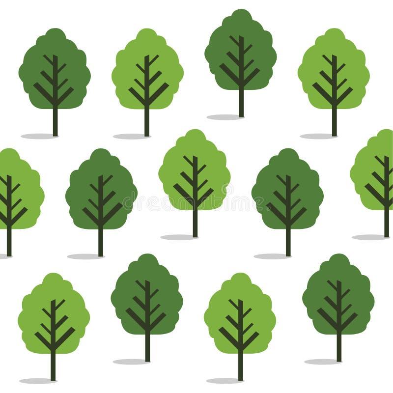 Rastermuster der nahtlosen Tapete mit grünen Bäumen lizenzfreie abbildung
