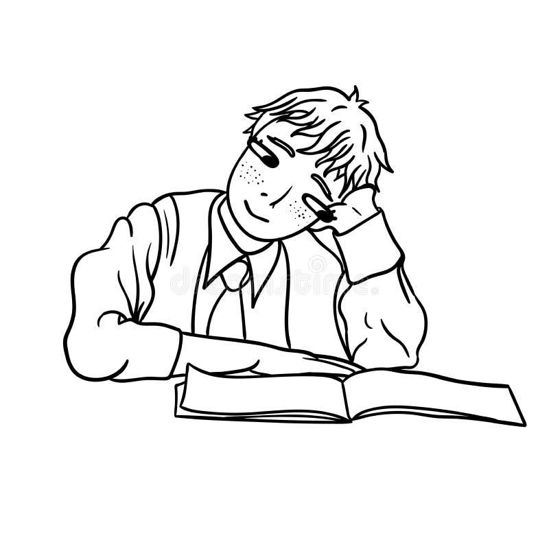 Rasterteckning av en drömlik skolpojke med anteckningsboken royaltyfri illustrationer