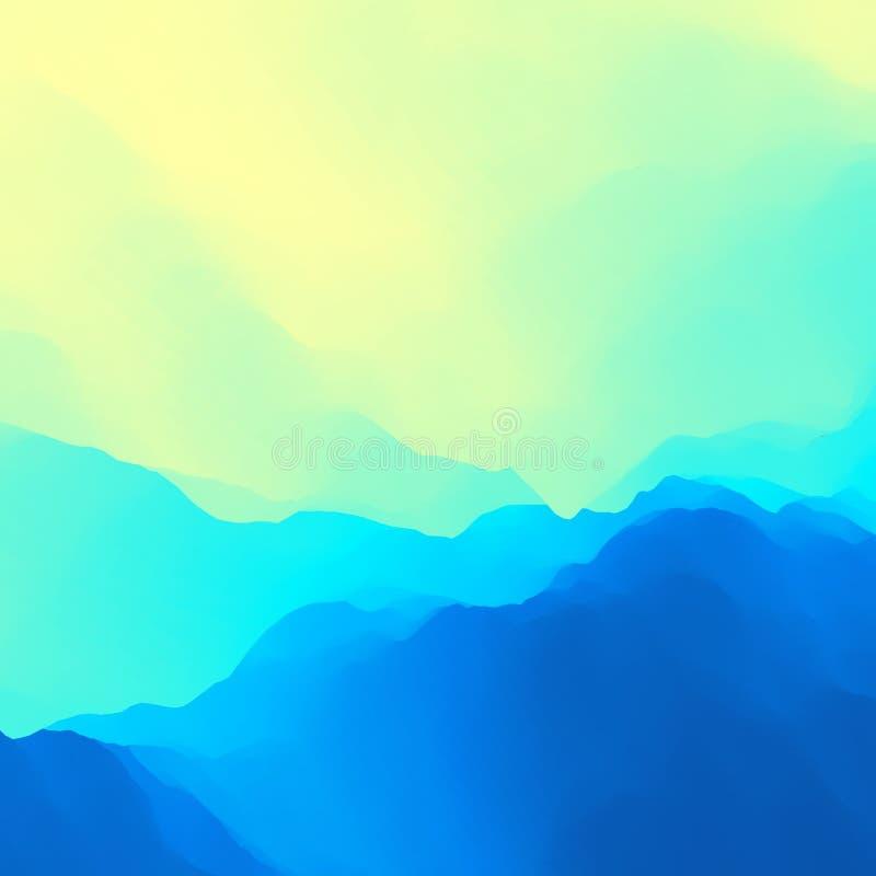 Rasterversion av illustrationen surface vatten för guld- krusningar mot bakgrund field blåa oklarheter för grön vitt wispy naturs vektor illustrationer