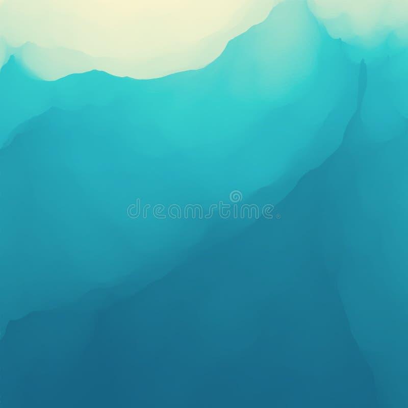 Rasterversion der Abbildung Goldene Kräuselungen im Wasser Feld des grünen Grases gegen einen blauen Himmel mit wispy weißen Wolk lizenzfreie abbildung