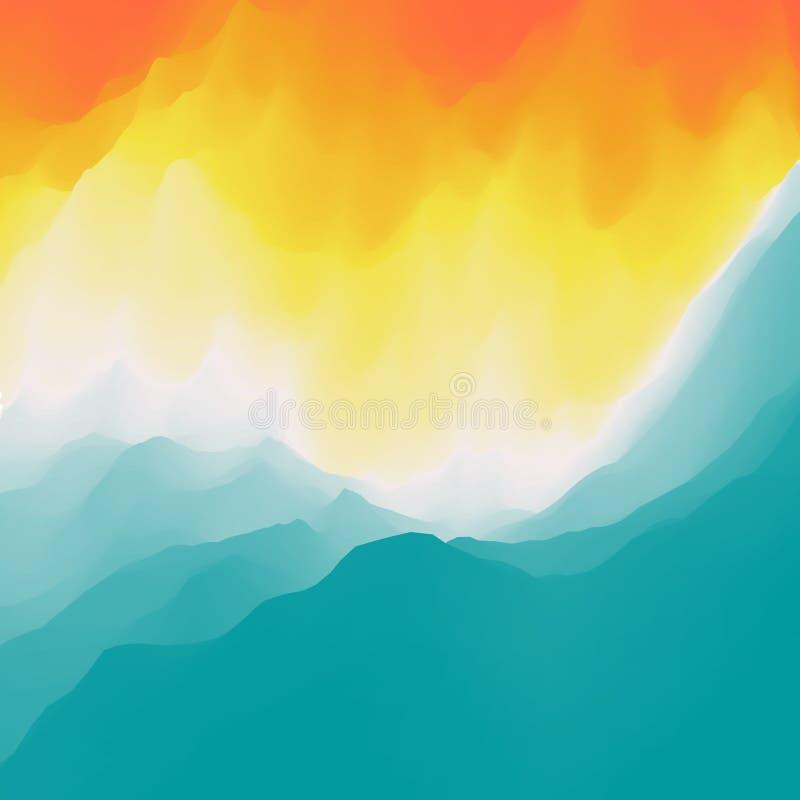 Rasterversion der Abbildung Goldene Kr?uselungen im Wasser Feld des gr?nen Grases gegen einen blauen Himmel mit wispy wei?en Wolk stock abbildung