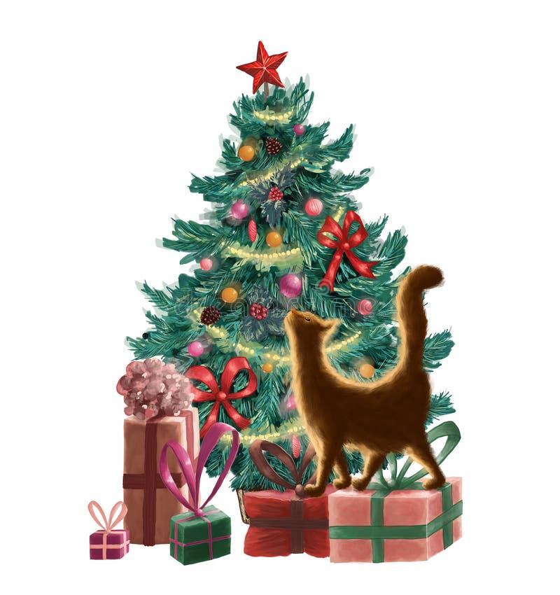 Rasterweihnachtsgrußkarte mit einem Weihnachtsbaum, Verzierungen, Präsentkartons, Girlande und einer orange Katze Frohe Weihnacht vektor abbildung