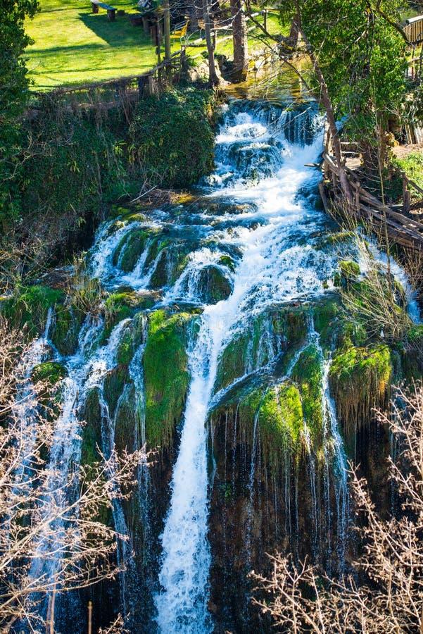 Rastoke村庄瀑布在克罗地亚 库存照片