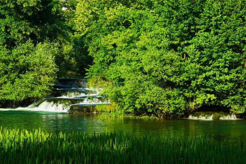 Rastoke瀑布在克罗地亚 库存照片