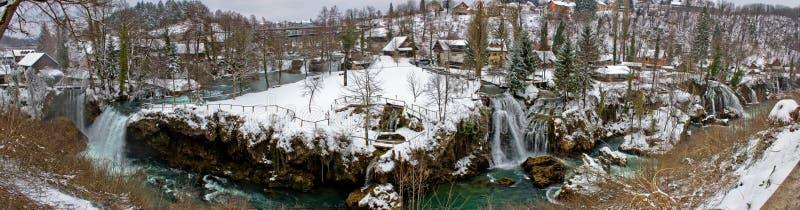 Rastoke siklaw zimy panorama, Chorwacja fotografia stock