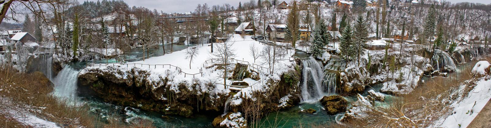 Rastoke waterfalls winter panorama, Croatia stock photography