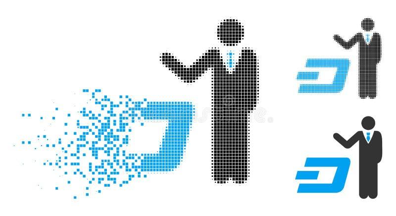 Rastrerad affärsman Show Dash Icon för skadat PIXEL royaltyfri illustrationer