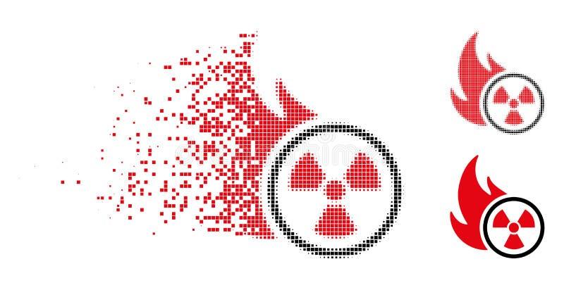 Rastrerad atom- brandsymbol för skadat PIXEL vektor illustrationer