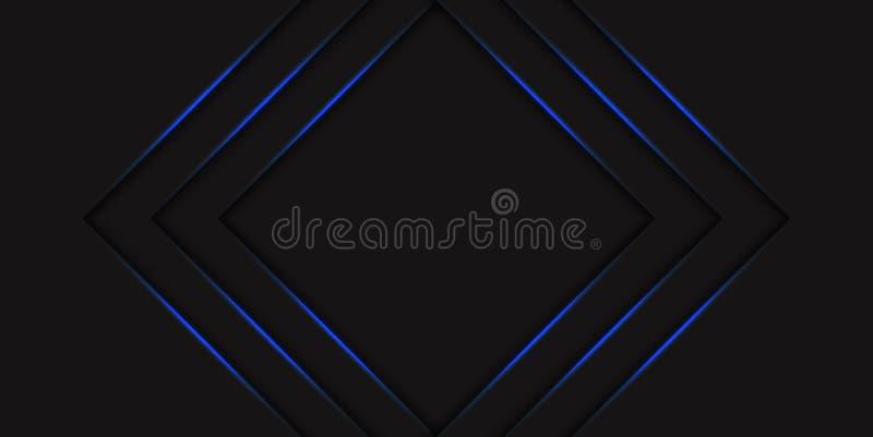 Rastrerad bakgrund för abstrakt blå triangel med pilar för blått neon för lutning glödande Hi techbegrepp med skinande linjer mal stock illustrationer