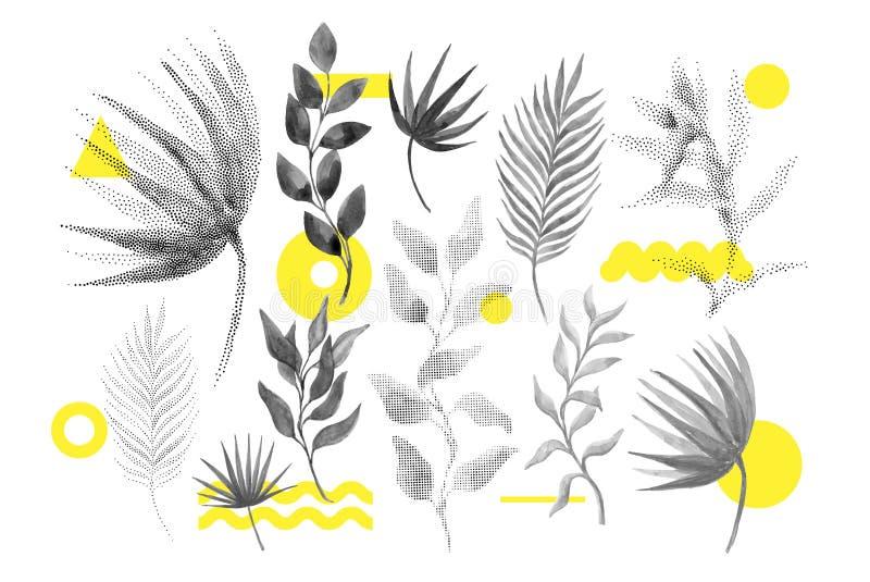 Rastrerad blom- formuppsättning för universell trend royaltyfri illustrationer