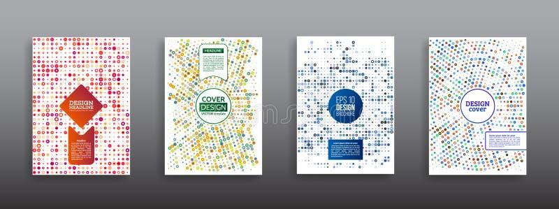 Rastrerad cirkelvektorram med färgrika abstrakta slumpmässiga prickar stock illustrationer