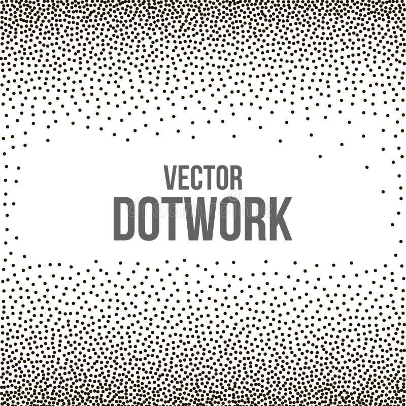 Rastrerad Dotwork gravyrbakgrund stock illustrationer